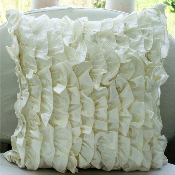Vintage - Ivory Satin Throw Pillow Cover