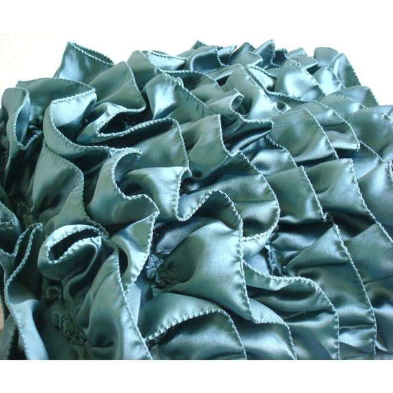 Vintage Teals - Teal Blue Satin Throw Pillow Cover