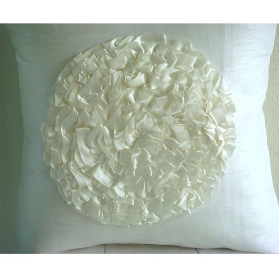 Vintageous - Ivory Art Silk Throw Pillow Cover