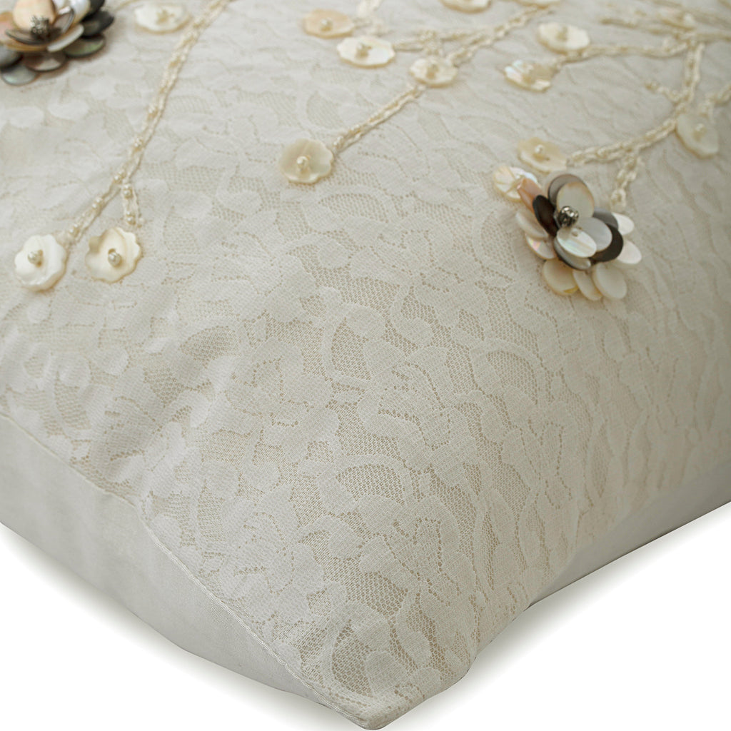 Wedding Bells - Ivory Art Silk Dupion Throw Pillow Cover