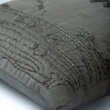 Willow Sparkle - Gray Art Silk Dupion Decorative Euro Sham