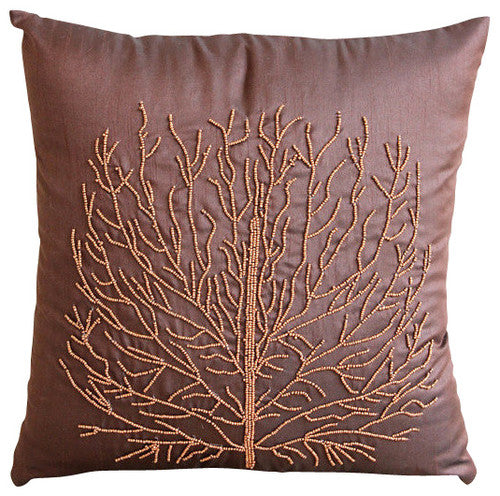 Money Tree - Orange Art Silk Throw Pillow Cover