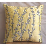 Yellow Crystal Willow - Yellow Art Silk Throw Pillow Cover