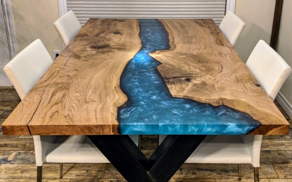White Oak Dining Table with Teal Resin