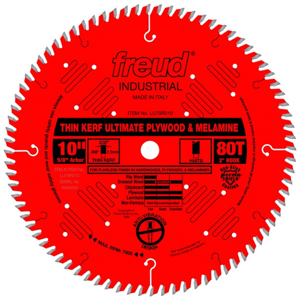 "10"" Thin Kerf Ultimate Plywood & Melamine Blade, 80T"