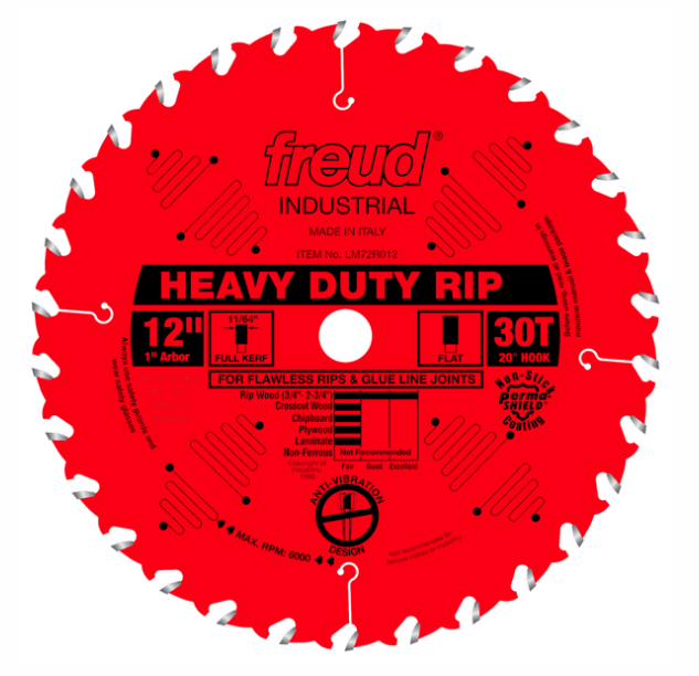 "12"" Heavy-Duty Rip Blade, 30T"