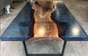 Midnight Blue Black Walnut Resin Cast Dining Table