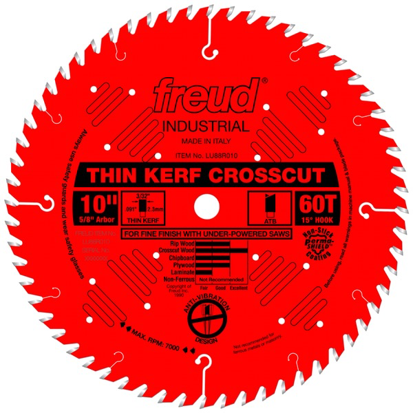 "10"" Thin Kerf Fine Finish Crosscut Blade, 60T"