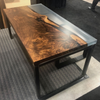 Claro Walnut w/ Clear Resin Cast Table