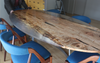 Oval Quilted Maple Resin Cast Table