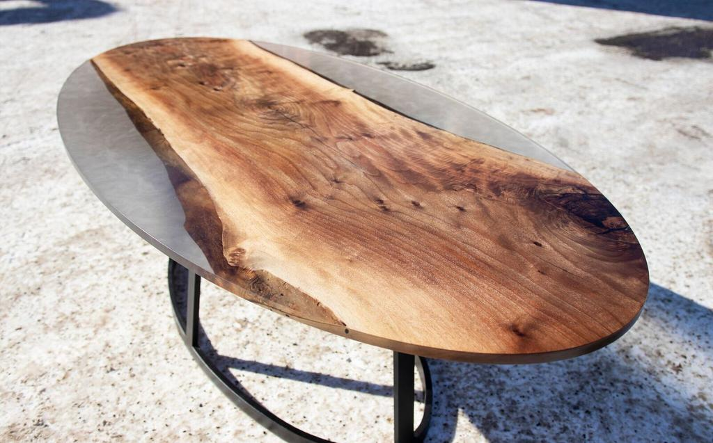 Walnut and Smokey Grey Resin Oval Table