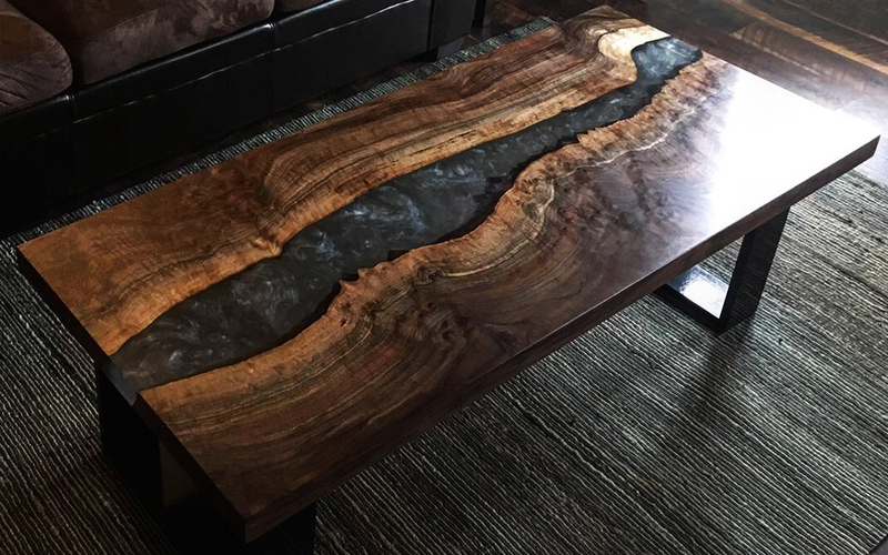 Claro Walnut Coffee Table with Silver Resin