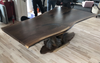 Black Walnut Silver Resin Dining Table with Driftwood Base