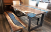 Light Blue Resin River Dining Table + Bench