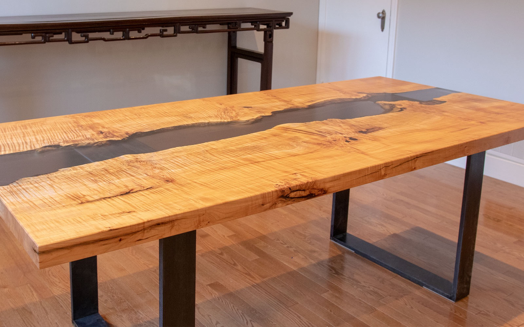 Quilted Maple Dining Table with Tinted Black Resin River