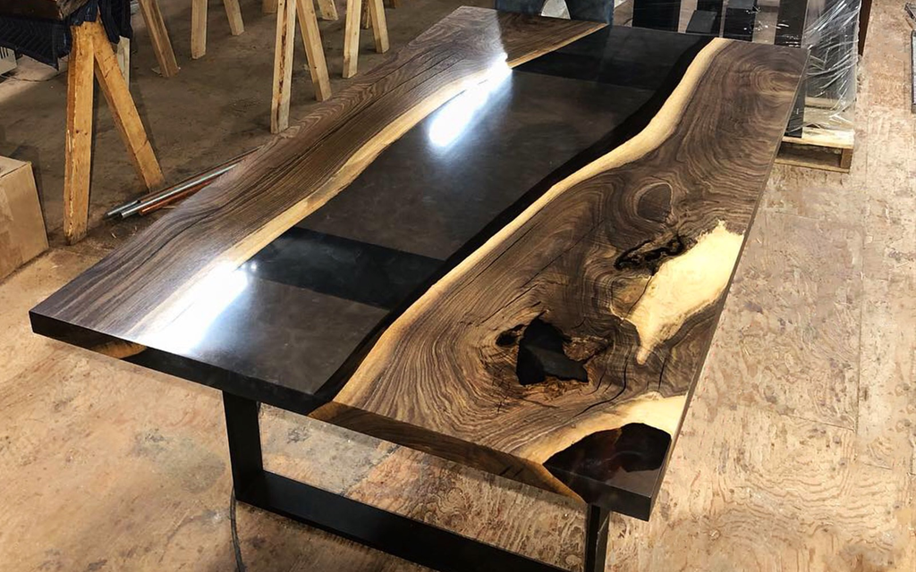 Black Walnut Dining Table with Smoky Grey Resin River