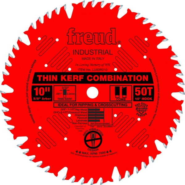 "10"" Thin Kerf Combination Blade, 50T 10"" Thin Kerf Combination Blade, 50T"