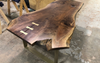 Black Walnut Patchwork Desk with Brass Inlays