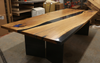 White Oak Dining Table with Black and Blue Resin