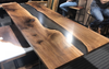Black Walnut Smoky Grey Resin River Table