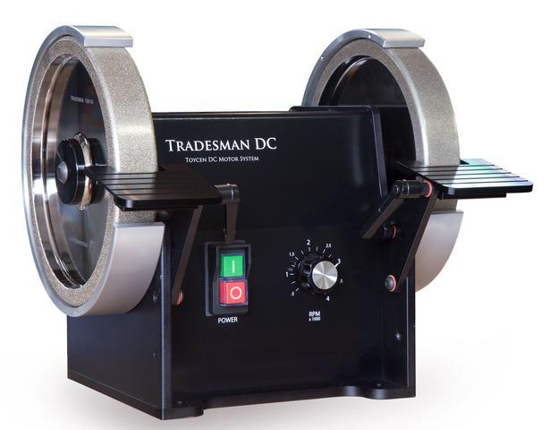"Tradesman DC Variable Speed 8"" Bench Grinder CSA w Tradesman CR 80 & 180 Grit Wheels w Standard Tool Rests"