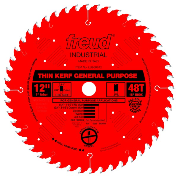 "12"" Thin Kerf General Purpose Blade, 48T"