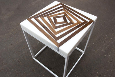 White Geometric End Table