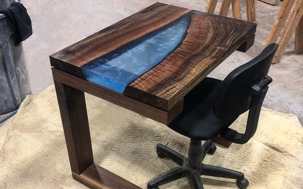 Claro Walnut Desk with Clear Blue Resin