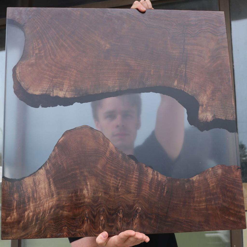 Resin Wall Art - Claro Walnut Burl with Tinted Resin