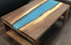 Black Walnut Metallic Blue Resin River Coffee Table