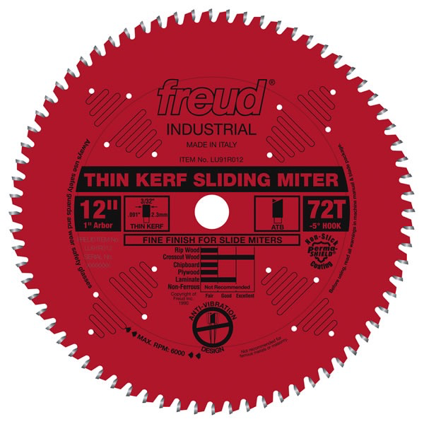 "12"" Thin Kerf Sliding Compound Miter Saw Blade, 72T"