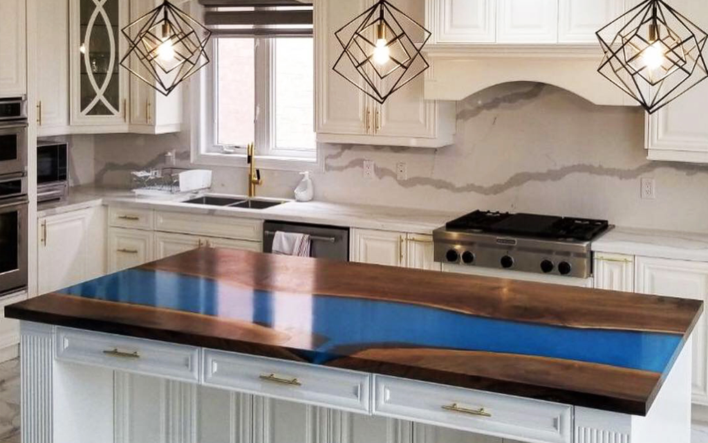 "Black Walnut Countertop with ""Lake Louise"" Blue Resin"