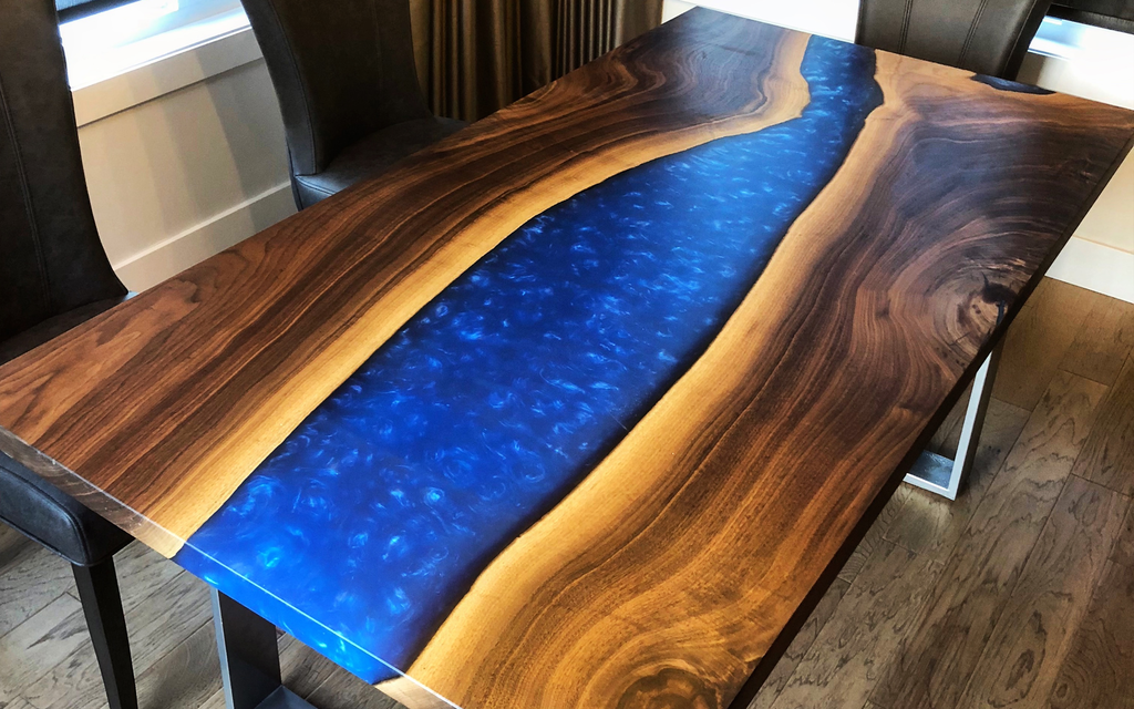 Black Walnut Dining Table with Deep Blue Resin
