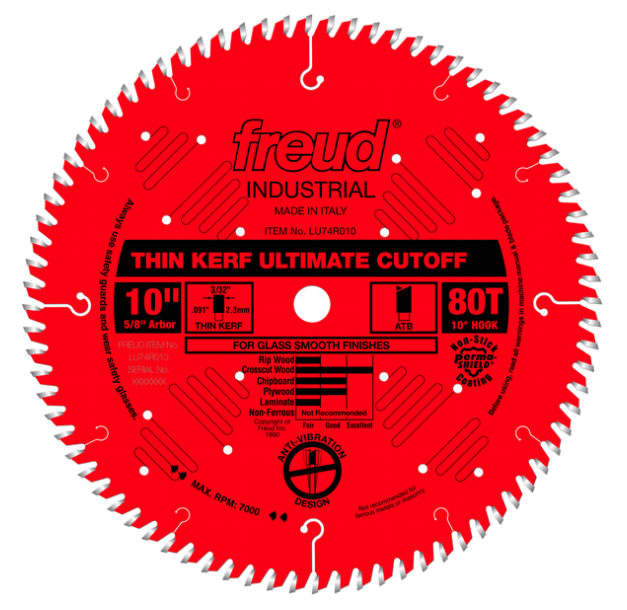 "10"" Thin Kerf Ultimate Cut-Off Blade, 80T"