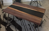 Black Walnut Smoky Grey Resin River Coffee Table