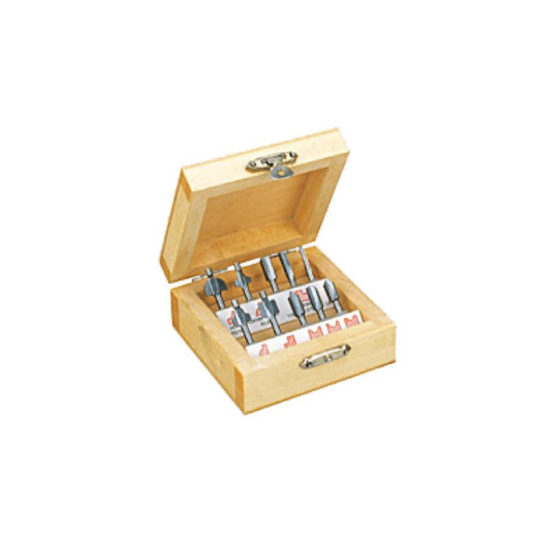 HSS Router Bit Set, 10 pcs. in Wooden Box