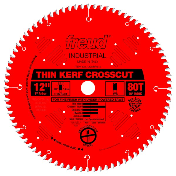 "12"" Thin Kerf Fine Finish Crosscut Blade, 80T"