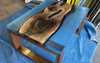 Walnut Clear Blue Resin Cast Coffee Table