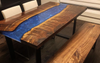 Claro Walnut Dining Set with Deep Blue Resin