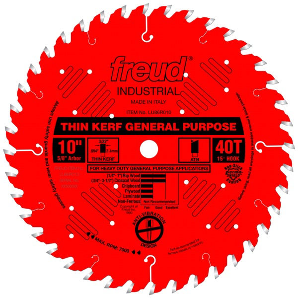 "10"" Thin Kerf General Purpose Blade, 40T"