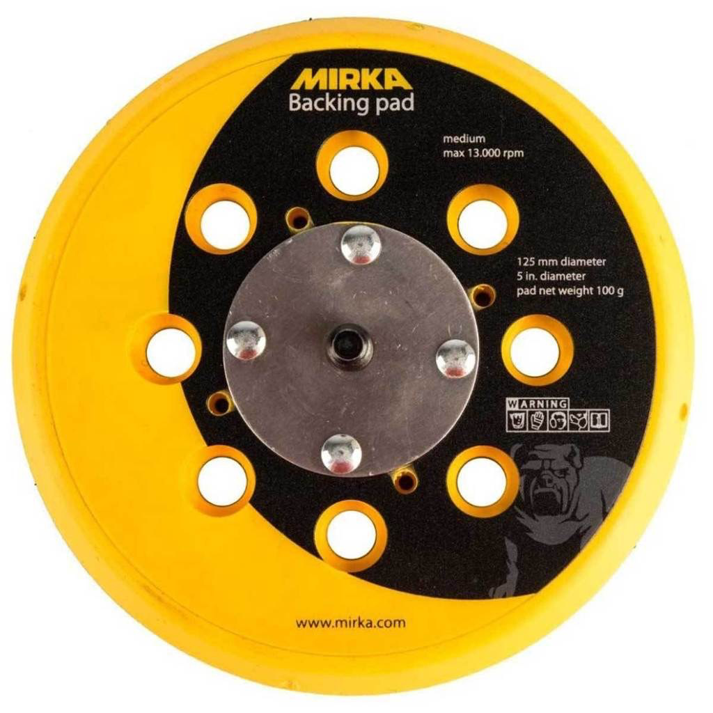 "5"" Multi-Hole Grip-Faced 130 gram Backing Pad for 6"" Mirka Sanders"