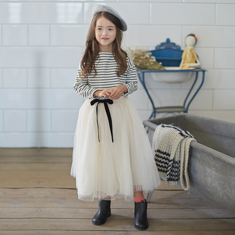 Full Sleeved T Shirt + Long Tulle Skirts