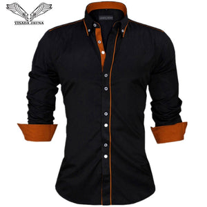 Solid Long Sleeve British Style Cotton Men's Shirt