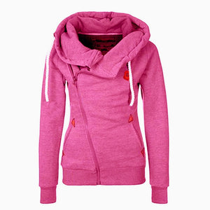 Long Sleeves Drawstring Pockets Zipper Hooded Sweatshirts