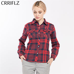 Causal Women Plaid Shirts Long Sleeve Blouse Shirt