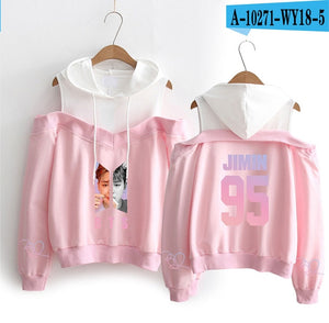 Women Long Sleeve Off-Shoulder  Love Yourself Album Hooded Clothes