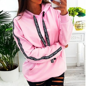 Long Sleeve Solid Hooded Pullover Tops Blouse