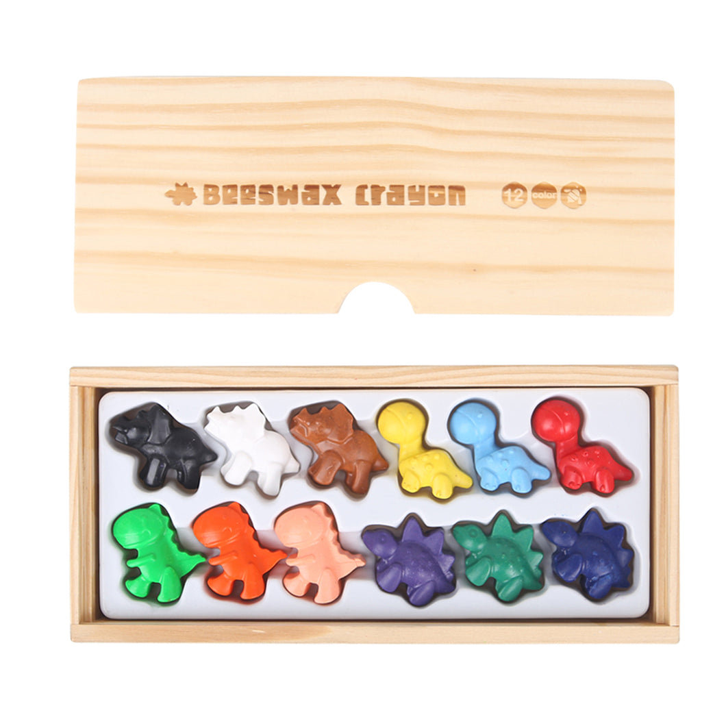 Beeswax Crayon- Cute Dinosaurs- 12 Colours
