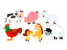 Load image into Gallery viewer, Wooden farm Animal Puzzle 6ps