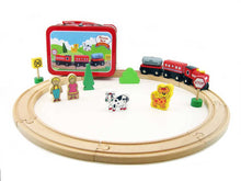 Load image into Gallery viewer, Wooden train set in carry case